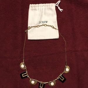 J Crew statement geometric design necklace. Blk/wh